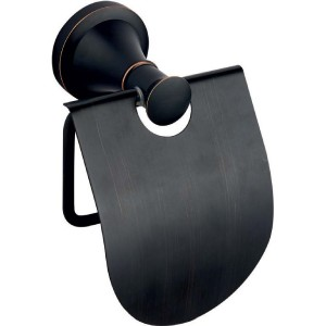 Suport hartie igienica ERMETIQ Luxury, cu aparatoare, negru mat vintage