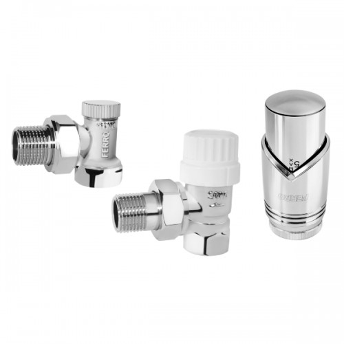 "Kit termostatic robinet radiator FERRO, robinet tur-retur, cap termostatic, 1/2"", cromat"