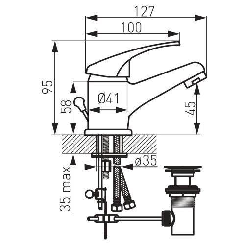 Baterie chiuveta baie FERRO Basic, ventil automat, alama, cromat