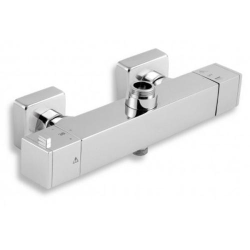 Baterie pentru cada/dus perete cu iesire superioara si inferioara FERRO Aquasave, termostatata, cromat