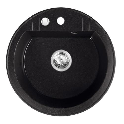 Chiuveta bucatarie rotunda simpla FERRO MEZZO II, granit, Ø51 cm, grafit