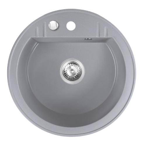 Chiuveta bucatarie rotunda simpla FERRO MEZZO II, granit, Ø51 cm, gri