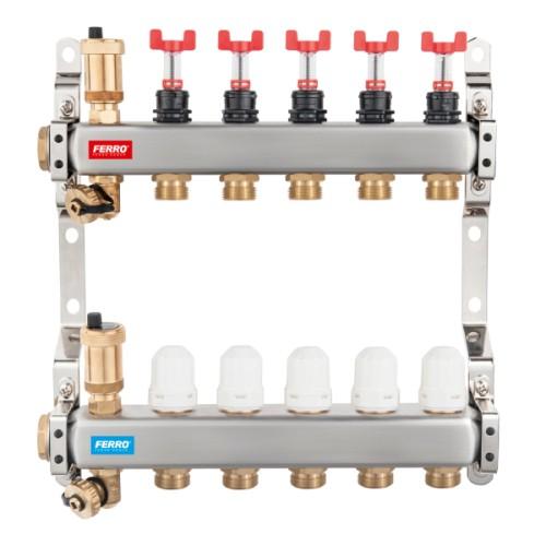 Distribuitor din inox FERRO, cu 2 circuite cu debitmetre si robineti termostatati