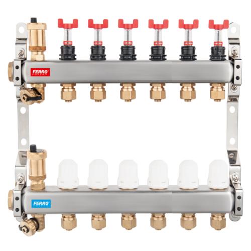Distribuitor din inox FERRO, cu 6 circuite cu debitmetre si robineti termostatati