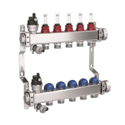 Distribuitor din inox PURMO, cu 6 circuite cu debitmetre si robineti termostatati