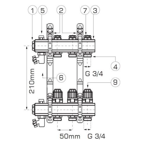 Distribuitor/colector-repartitor Ferro de tip RZ 1'' cu 12 iesiri